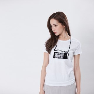 Vintage Camera Peach Cotton T-shirt / White