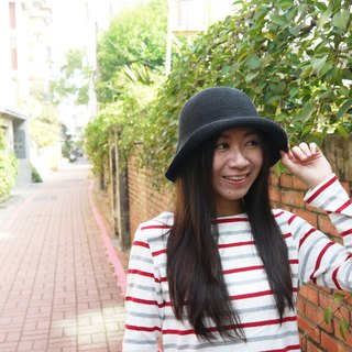 Mama の hand-made hat - handmade cotton rope crocheted hat / wide-brimmed hat - minimalist black / gifts / Mother's Day