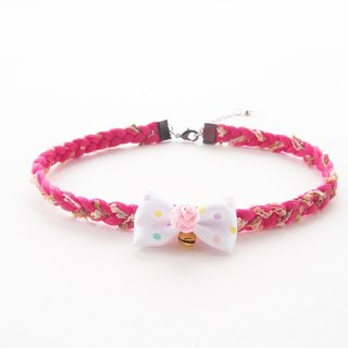Pink lace choker / necklace with polka dot bow and bell.