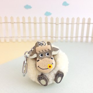 Handmade wooden [x] ♦ yarn Peng Peng small gray cow love flowers Keychain / Charm