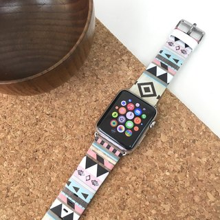Apple Watch Series 1 , Series 2 & Series 3 - 彩色部落民族圖案 Apple Watch 真皮手錶帶38 / 42mm ,100%香港設計及製作 - 39