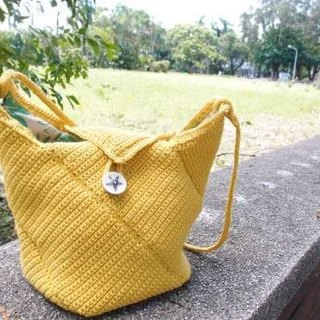 Jinmang Starfish buckle bucket bag shoulder bag hand-woven ramie water