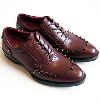 [LMdH] D2A19-79 calf leather carving rivets Rivets-oxfords gas bottom jelly red ‧ ‧ Oxford shoes free shipping