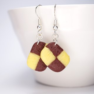 *Playful Design* Checker Cookies Drop Earrings
