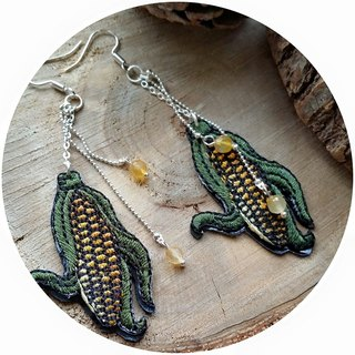 Embroidery corn earring natural agate stone earrings