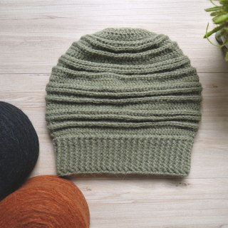Hand-knitted wool cap ~ neutral multi-level designer wool cap series / light milk ink