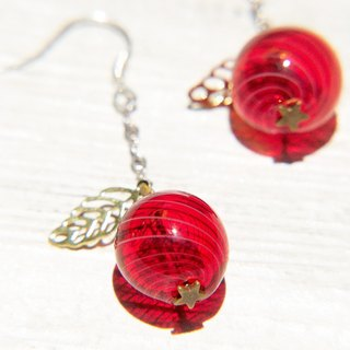 Valentine's Day gift / minimalist sense / French rotate Waltz glass ball earrings / earrings - red apple (can be changed cramping)