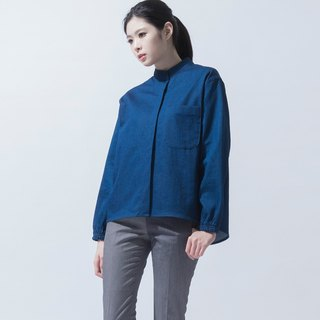 Elasticated cuff wide shirt Denim Oversized Shirt with Stretch Cuffs