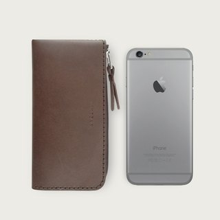 iPhone zipper phone case / wallet -- deep coffee