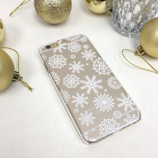 香港原創設計 聖誕白色蕾絲雪花圖案 iPhone X,  iPhone 8,  iPhone 8 Plus,  iPhone 7, iPhone 7 Plus, iphone 6/6S , iphone 6/6S PLUS, Samsung Galaxy Note 7 透明手機殼