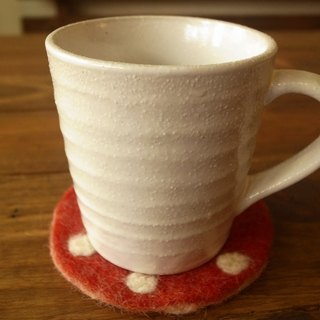 【Grooving the beats】Cup coasters, Felt coasters(Dot_Red)