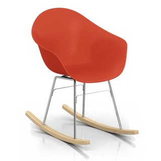 TOOU ArmShell oak rocking chair with a foot (red)