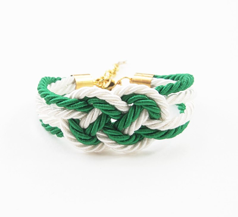 Green / white nautical bracelet