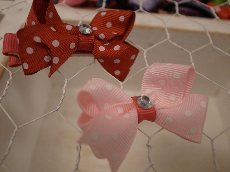 Pink little small bow hairpin
