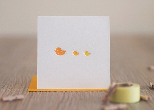 Baby Duck - Letterpress Mini Greeting Card