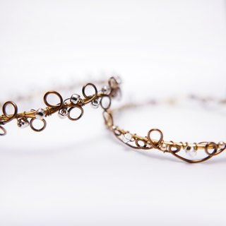 Handmade Copper Wire and Beads Bangle/Bracelet