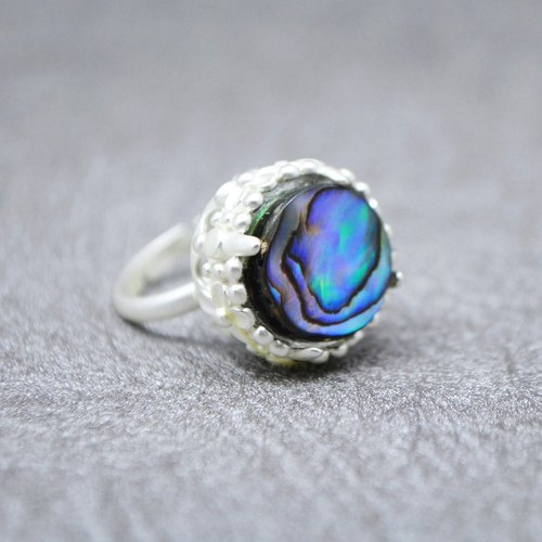 Tony natural ESCA • island of abalone shell plating thick silver ring (Corolla models)