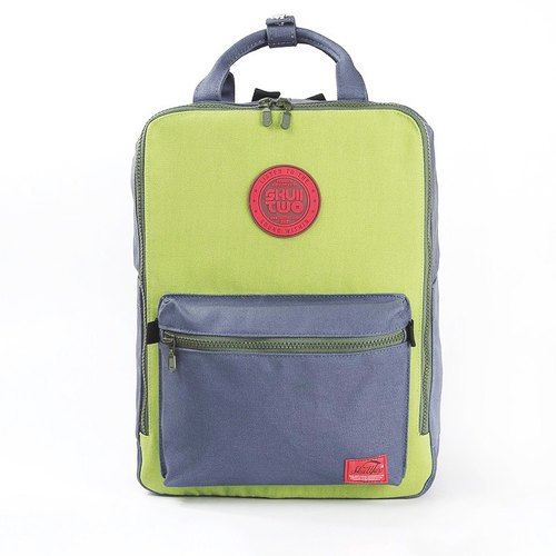 [SKUllTWO BAG] + apple green and gray stitching / canvas Backpacks / attached dust bag