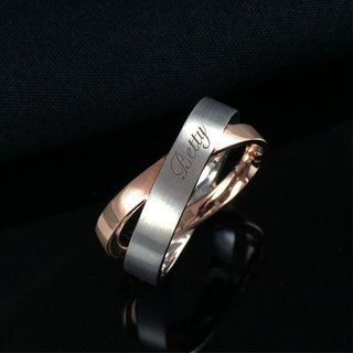 Intertwined melody - Passenger letter engraved silver rose gold plated ring ring ring