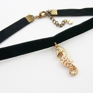 ฺBlack velvet choker/necklace with seahorse charm