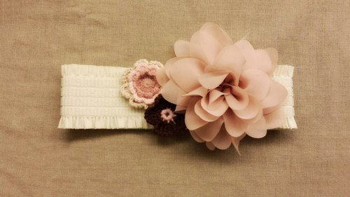 Handmade Elastic Headband with big fabric flower