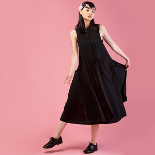 Tan-tan / black stand collar pleated double dress