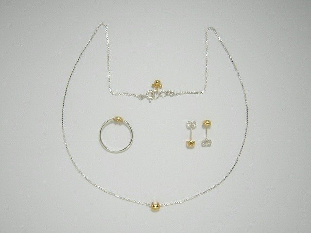 miaow icon 3-piece set K18GP ( cat ring earrings necklace K18 gold plated silver set 貓 猫 镀金物 銀 指杯 颈链 穿孔耳环  )