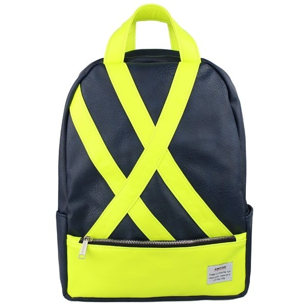 AMINAH-fluorescent yellow-blue backpack [am-0251]