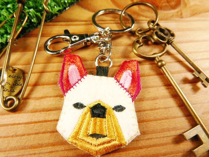 Embroidery key ring pen finger doll - dog