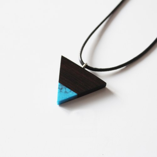 Ebony wood mound blue turquoise necklace triangle