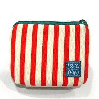 Fine coin (Red and white stripes)/card pouch/Mini zipper pouch/ Small Gadget bag/ Pocket pouch