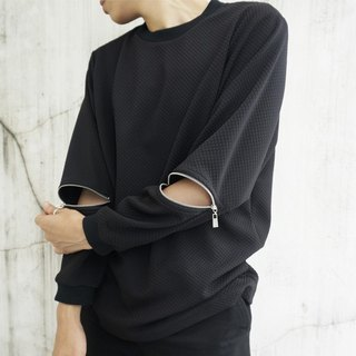 'Sebastian' Long Sleeve Zipper Top - BLACK