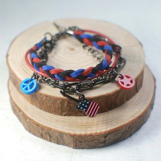 ROCKER American flag guitar multi-layered bracelet