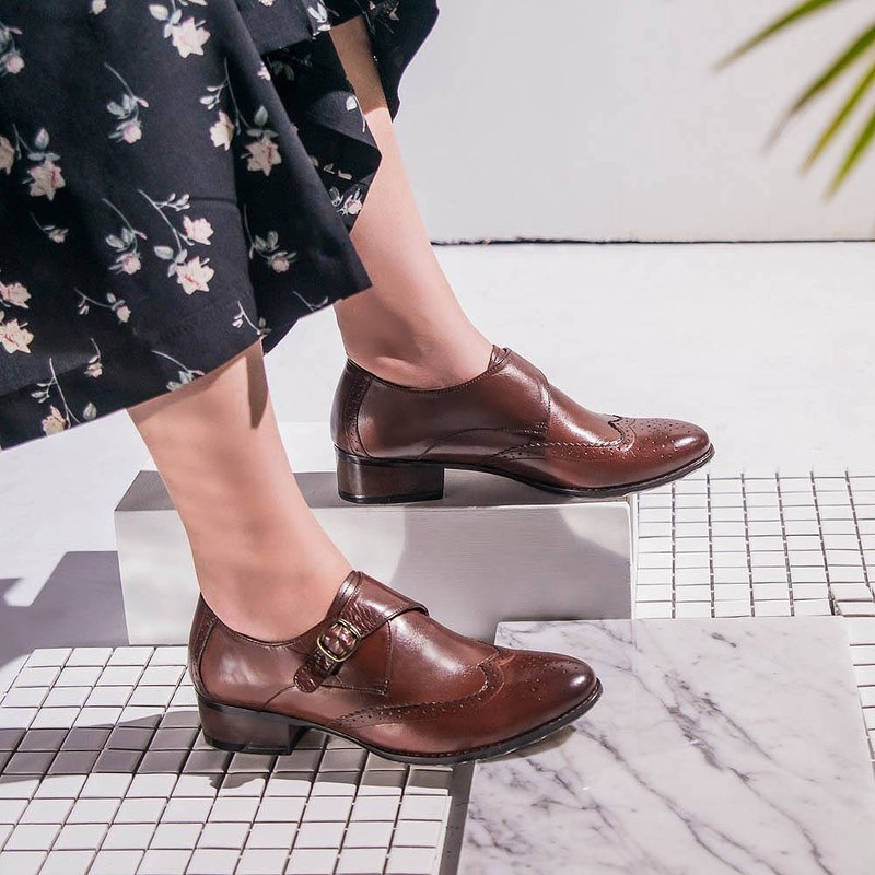 Echo gentry rub color asakuchi single buckle Monk shoes ec28 coffee