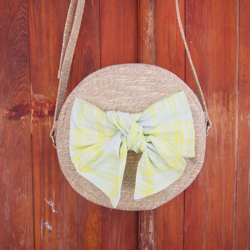 Yellow bow bun BAG / oblique backpack