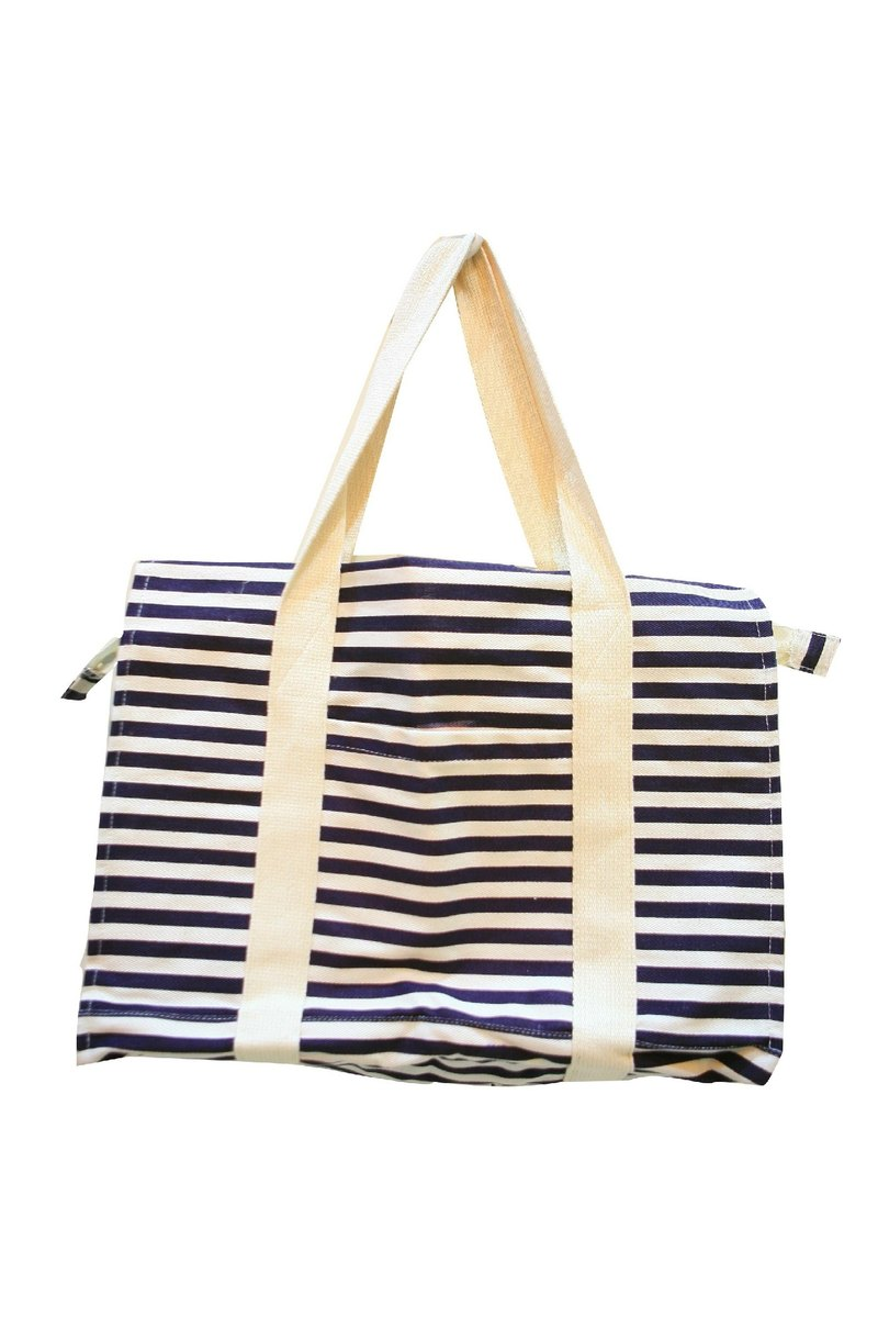 "Fill in the Blank ""natural hemp fabric furniture Series - French linen weekend bag - STRIPE-BLUE"
