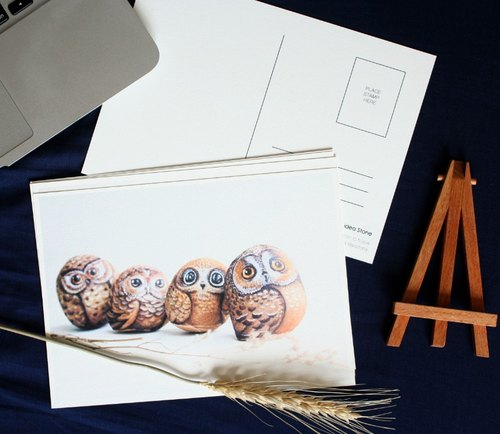 3 kinds of cute animal illustration postcard stone
