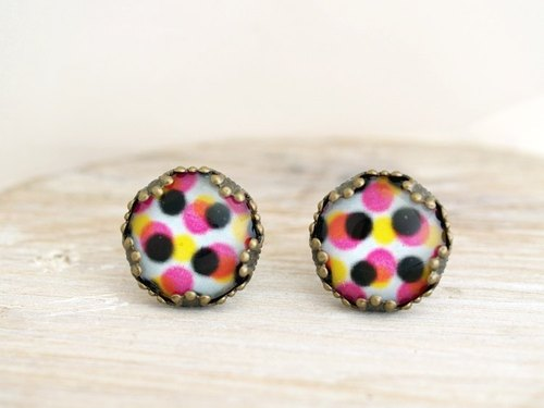 ♥ ♥ OldNew Lady- made a small gift bronze lace earrings - colorful color point [Blue Background black dot]