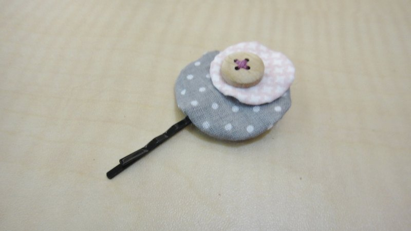 Size round hairpin - gray water jade and pink