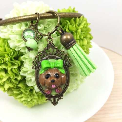 Baby red bow tie ● tongue VIP dog fresh green handmade oversized keychain ● Limited ● Made in Taiwan