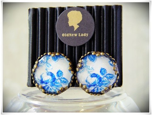 OldNew Lady- 1.5cm round bronze ear clip. Chinese blue and white retro floral prints [] New!