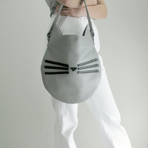 Grey Cat Shoulder Bag / Genuine Leather Women Bag With Coin Purse/ Handmade Shoulder Bag / Unique / Cat Lover / Cat Tote Bag