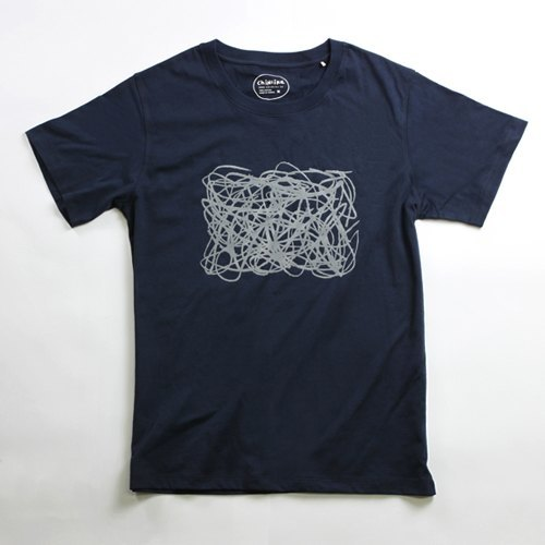 Cotton handmade fashion T-shirt men (family) - childlike line composition (iron gray blue)