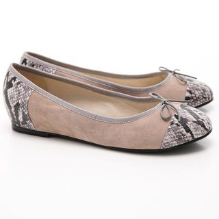 [Saint Landry] LAND serpentine mosaic design bow ballet shoes (gray)