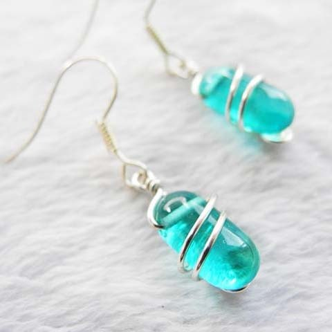 Art Line Wrap Earrings - Lake Green