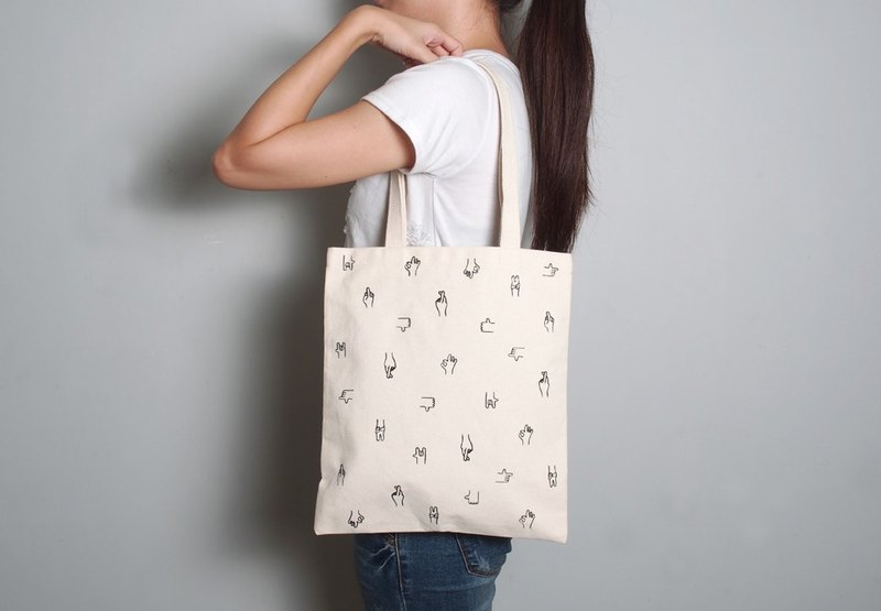 Hand-painted handprints Peibu bag [gesture] single / double hand / shoulder