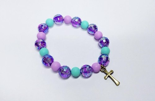 Purple, green and integrated cross bracelet cute