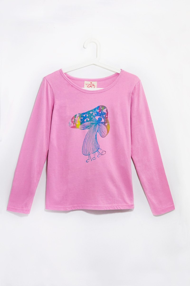 Feel forest wind cotton long-sleeved shirt / Nepal mushrooms (Pink)