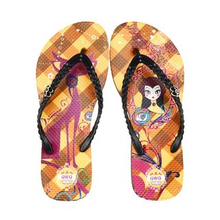 QWQ creative design flip-flops - cat mirror - coffee [FA0191507]