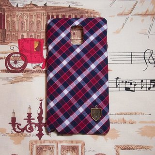 Purplish blue plaid cloth protective sleeve shell phone Sony Xperia Z5 Z4 Z3 Z2 Z1 Z T1 T2 T3 E1 E3